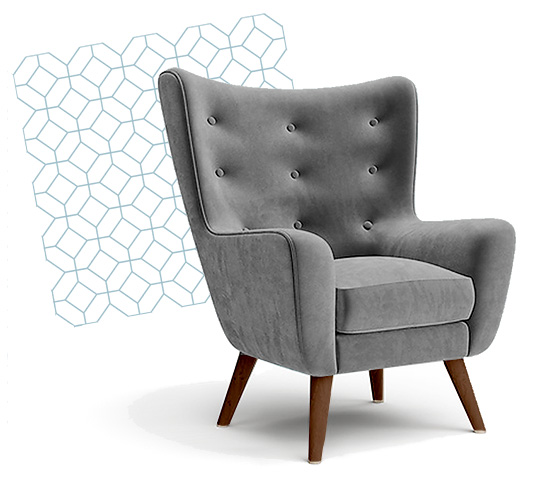 chair with geo pattern behind it lap of luxury interior design alabama
